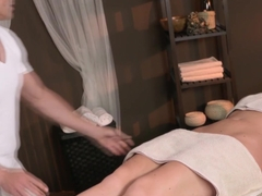 Cocksucking massage client and an old masseur