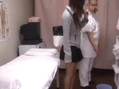 Brunette amateur is getting strong medical voyeur orgasm