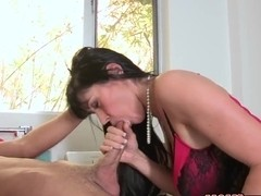 Logan Pierce gets his cock sucked by his girlfriend Cassandra Nix and her stepmum