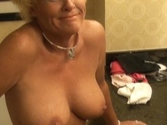 Slamming a big butt mature wife in the bathroom