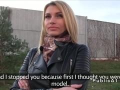 Pretty tall blonde fucks in public