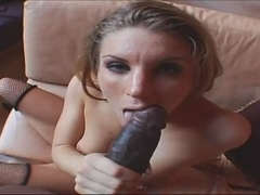 Blue-eyed bitch tastes big black cock in POV clip