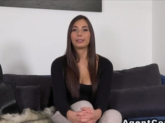 Costumed fake agent fucks sexy brunette
