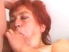 fat older redhead drilled by youthful fellow