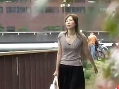 Asian milf felt what is no panties sharking on her twat