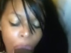Darksome Girlfriend Doing Orall-Service Sex and a Large Dark Strapon