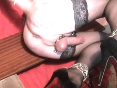 Slut fucking ass with cucumber and relaxing