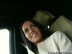 Teen hitchhiker bangs in strangers car