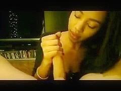 Ebony legal age teenager girl's beautiful blowjob