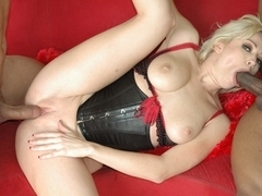 Naughty blonde girl pleasing two cocks together