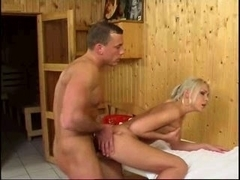 In sauna with gorgeous blond