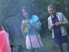 Russian students staged an fuckfest in the woods