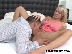 Blonde amateur girlfriend enjoys a big cock
