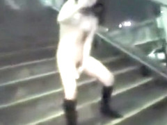 Japanese doll masturbates in public for a crowd