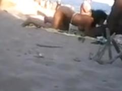 Ebony couple has an outdoor blowjob action