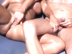 Couple masturbates and cums together in outdoor porn