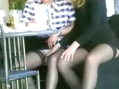Upskirt flashing and lesbian foreplay in public