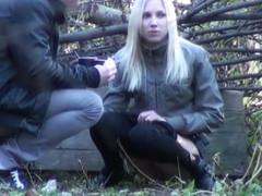 Slim girlfriend caught peeing in the city park