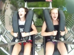 Hot babes on the fastest roller coaster
