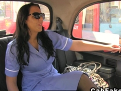 Busty nurse in uniform bangs in fake taxi