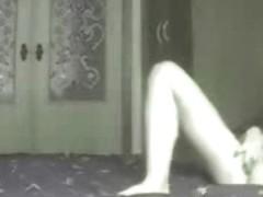 Great masturbation of mommy on bed. Hidden cam