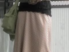 Asian babe has her long skirt torn by a street sharker.