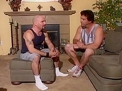 Hunk does blowjob and his ass is drilled