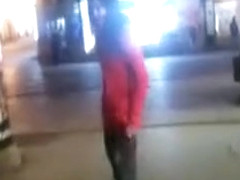 Drunken cutie pissing on a public sidewalk