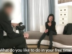 Euro casting babe sucking hard cock