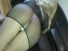 Showing my booty in fishnet dress