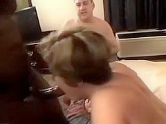 Hubby coaches hotwife with a roomful of schlong