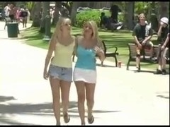 two Hot Blonde Teens Flash & Play In Public!