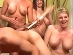 3 sexy S&M MILFS ream boyfrend's gazoo with belt-ons