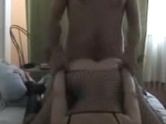 Fishnet and boots girlfriend pounded to creampie