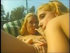 Two blonde lesbians enjoy cunnilingus