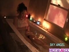 Koyuki Hara soaps body and fucks with dildo