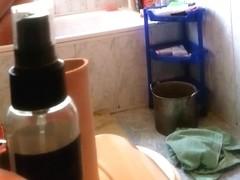 Wife caught masturbation in bathroom on hidden cam