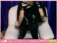 immature in a cap does striptease on cam