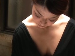 Cute Asian hussy makes for hot down blouse porn
