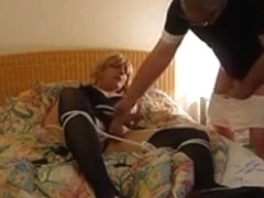Attached lady swallows enormous schlong