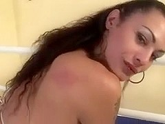 hawt lady-boy plays with rod and cums
