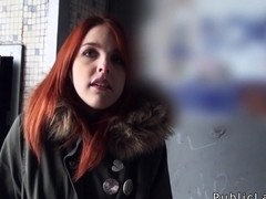 Spanish redhead amateur in public flashing titties