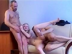 Dilettante - Cute Blonde Playgirl Male+Male+Female Trio CIM Facial