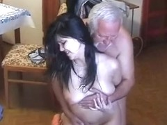 Very old obese mate use youthful maid very hard
