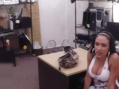Busty latina pounded by horny pawnkeeper at the pawnshop