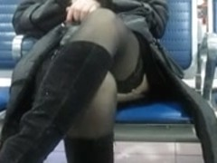 Stockings upskirt in airport 1