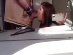 Brunette Hair Baths Mirror Oral Sex