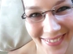 Nerdy german girl request a facial and starts to giggle