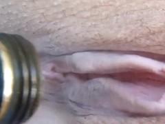 I masturbate my wife with garden pantyhose