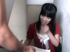Japanese brunette babe is on the downblouse video cam